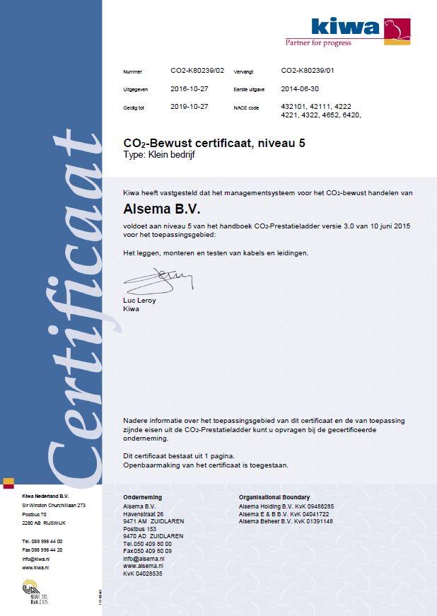 Certificaat CO2 Prestatieladder niveau 5 Alsema B.V.